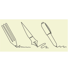 Set writing accessories one line drawing vector