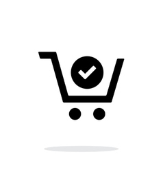 Shopping cart check simple icon on white vector image