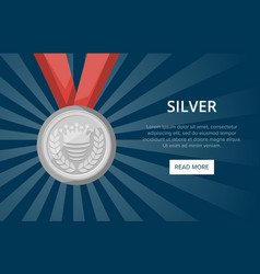 silver medal with ribbon on blue background vector image