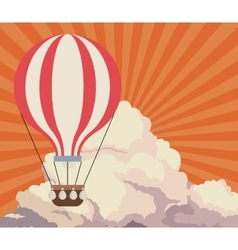 Sky sunset clouds airballoon travel retro vector