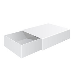 Sliding box white open box isolated on white vector
