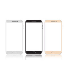 Smartphones black white and gold smartphone vector