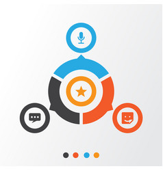 Social icons set collection of star video chat vector