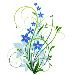 Spring grass with flowers vector