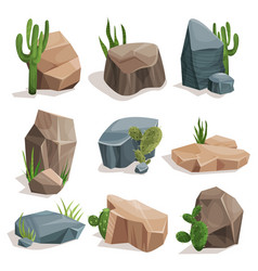 Stones and nature rocks set with green grass and vector