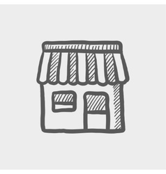 Store stall sketch icon vector