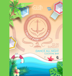 summer beach party poster top view vector image