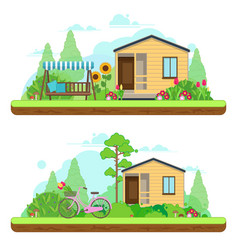 Summer day in garden summer landscapes vector