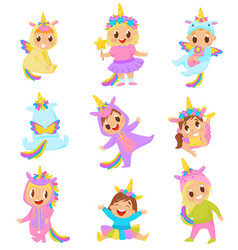 sweet little kids in unicorn costumes set vector image