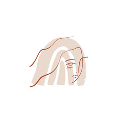 terracotta boho line drawing woman face fashion vector image
