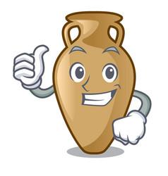 Thumbs up amphora character cartoon style vector