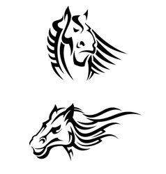 Tribal horses mascots vector