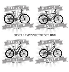 Types of bicycles in the form of silhouettes vector