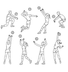 Volleyball players line silhouettes set sketch vector
