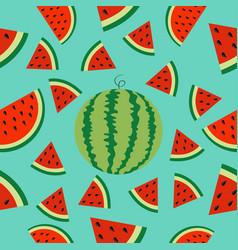 watermelon whole ripe slice icon half cut with vector image