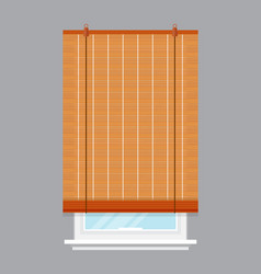 window with roll curtain isolated vector image