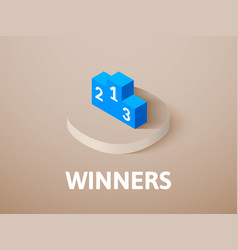 Winners isometric icon isolated on color vector