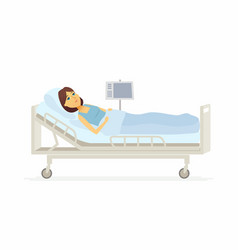 Woman lying in hospital bed - cartoon people vector