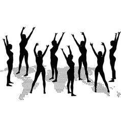 woman silhouette with hand gesture dancing vector image