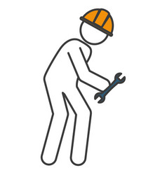 worker silhouette with wrench vector image