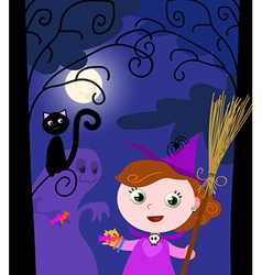 Young Halloween witch and cute monster vector image