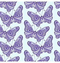 Zentangle stylized Butterfly seamless pattern Hand vector