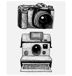 instant and modern photo camera vintage engraved vector image