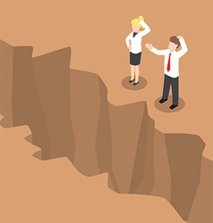 Isometric businesspeople standing at edge of the c vector image