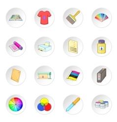 Print process icons set vector image