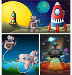 three scenes with rocket in space vector image
