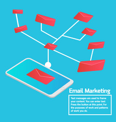 business concept smartphone sending email vector image vector image