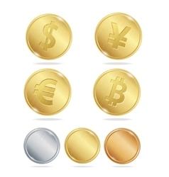 Gold Coins Dollar Euro Bitcoin Yuan Set vector image