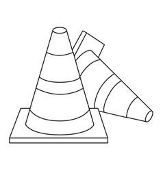 silhouette striped couple traffic cone fallen vector image