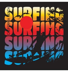surfing t-shirt design vector image vector image