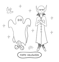 cartoon halloween characters ghost vampire vector image