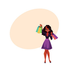 happy black african girl woman with shopping vector image vector image