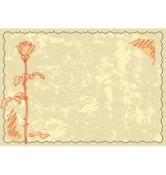 old card with rose vector image vector image