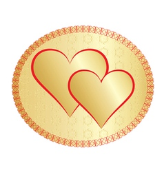 two golden valentines vector image vector image