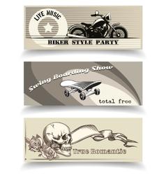 biker banners vector image vector image