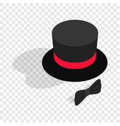black top hat and bow tie isometric icon vector image