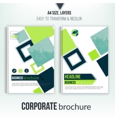 Brochure cover template with blurred city vector image