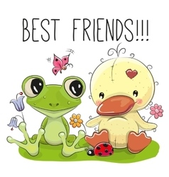 Cute cartoon duckling and frog vector