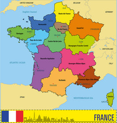 france map with regions and their capitals vector image vector image