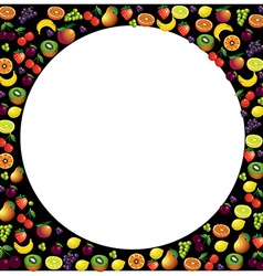 Fruits frame made with different fruits over dark vector image vector image