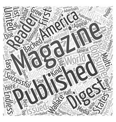 General interest magazine publishing word cloud vector