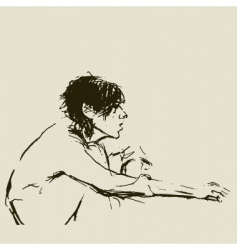 girl sketch vector image vector image