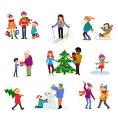 winter holiday cartoon family characters vector image
