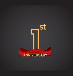 1 anniversary logotype design with line golden vector