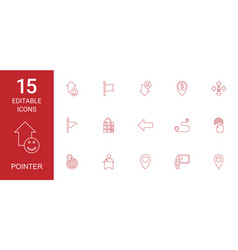 15 pointer icons vector image