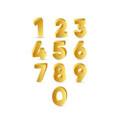3 d number gold label template design vector